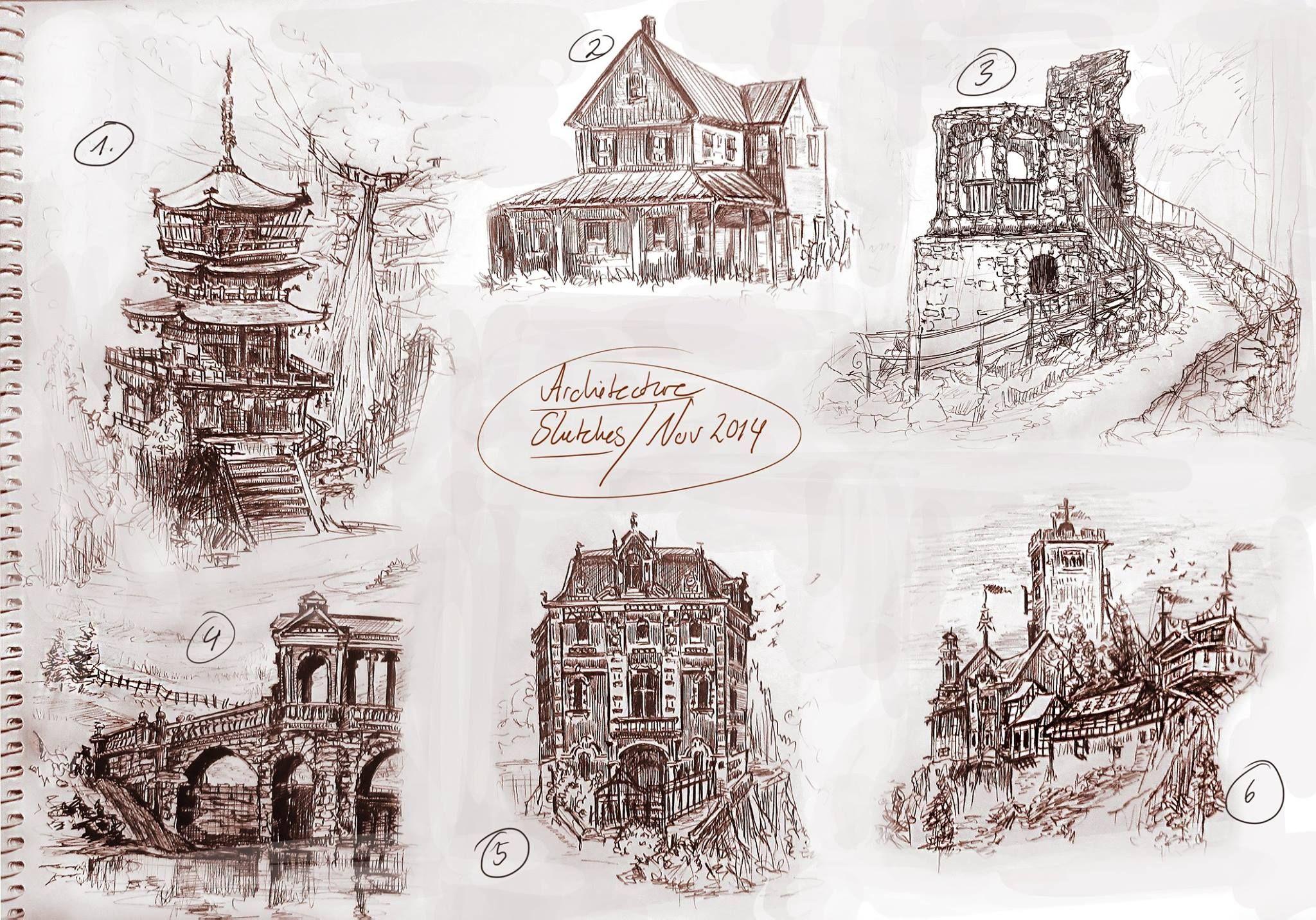 Architektur Skizzen Kugelschreiber Ubung November