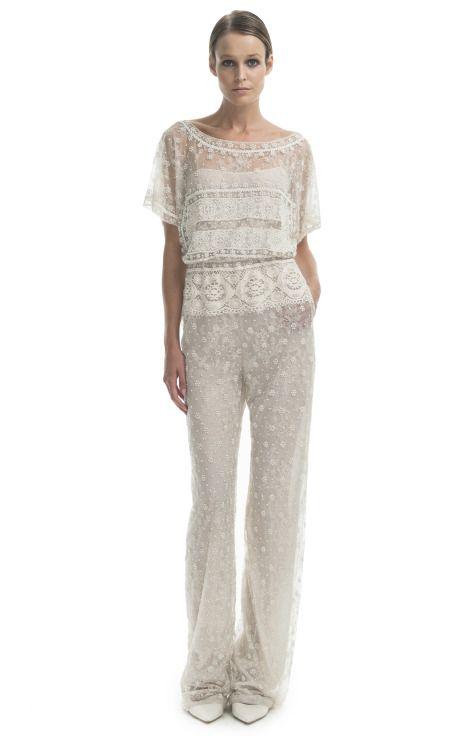 Shop Valentino Vintage White Embroidered Jumpsuit At Moda Operandi
