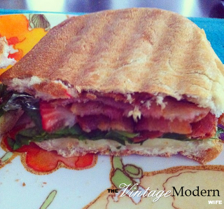 Bacon, Cheese, Spinach, and Strawberry Panini by The Vintage Modern Wife- http://www.futuremrsmathewwolfe.blogspot.com