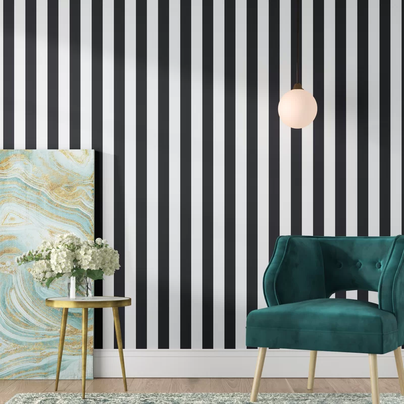 Marylyn Awning 16 5 L X 20 5 W Stripes Peel And Stick Wallpaper Roll Wallpaper Roll Peel And Stick Wallpaper Decor