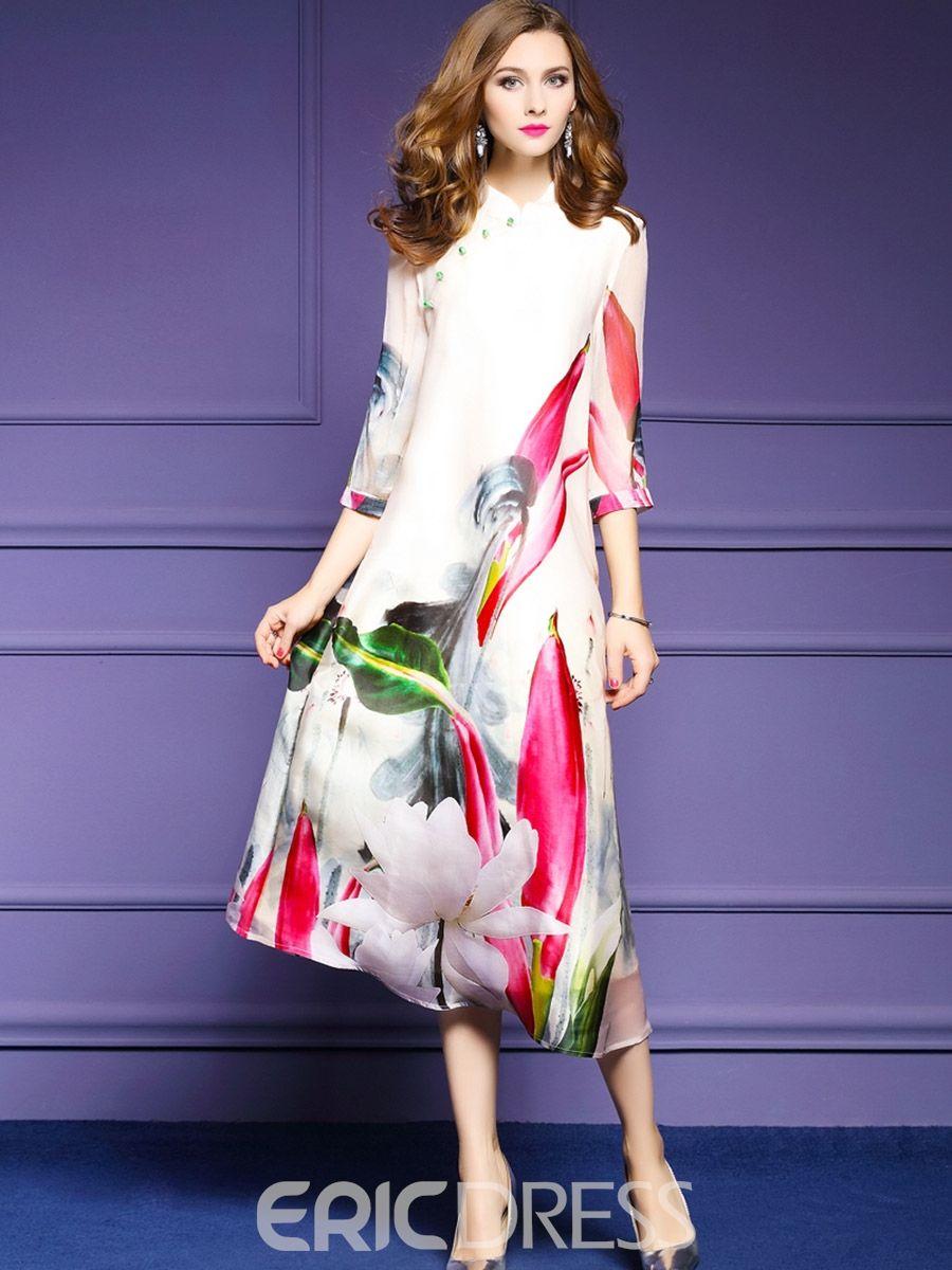 Stand collar sleeve floral print maxi dress floral print maxi
