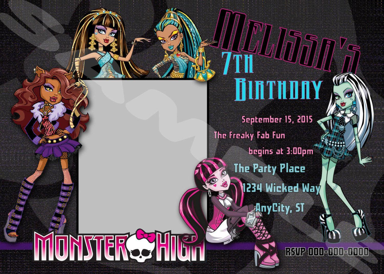 MONSTER HIGH 3 Designs Photo Custom Digital Printable Invitation ...