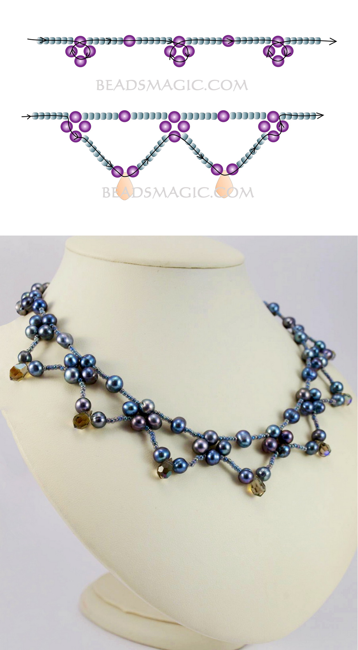 Photo of Free pattern for necklace Corina