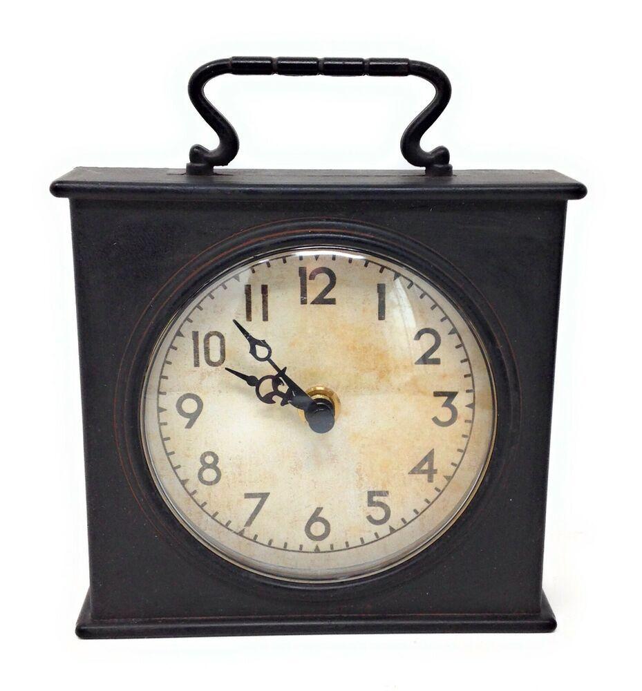 Retro Black Aged Cast Metal Desk Clock Rustic Industrial W Convex Glass Dome Clock Desk Clock Rustic Industrial