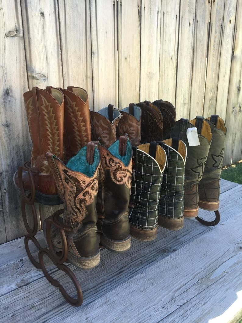 Cowboy Boot Organizer Horseshoe Decor Boot Rack Horseshoe Boot Rack Country Decor Horseshoe Art Boot Storage Country Chic Decor