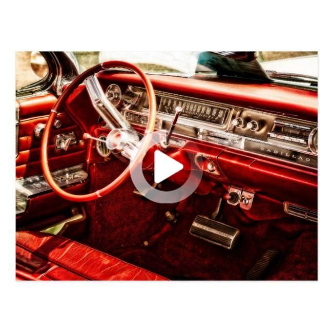 Vintage Auto Red Interior Postcard   Zazzle.com