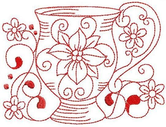 Redwork Teacup 4 Hand Embroidery 3 Sizes