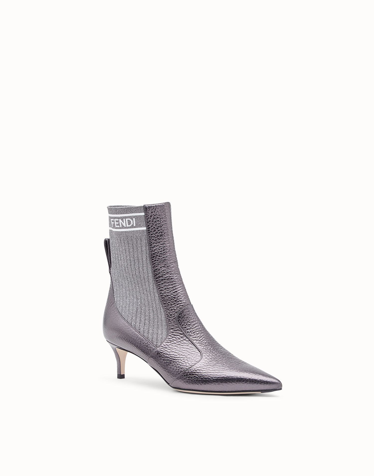 a0bb71aed22d FENDI BOOTS - Gray leather boots - view 2 zoom