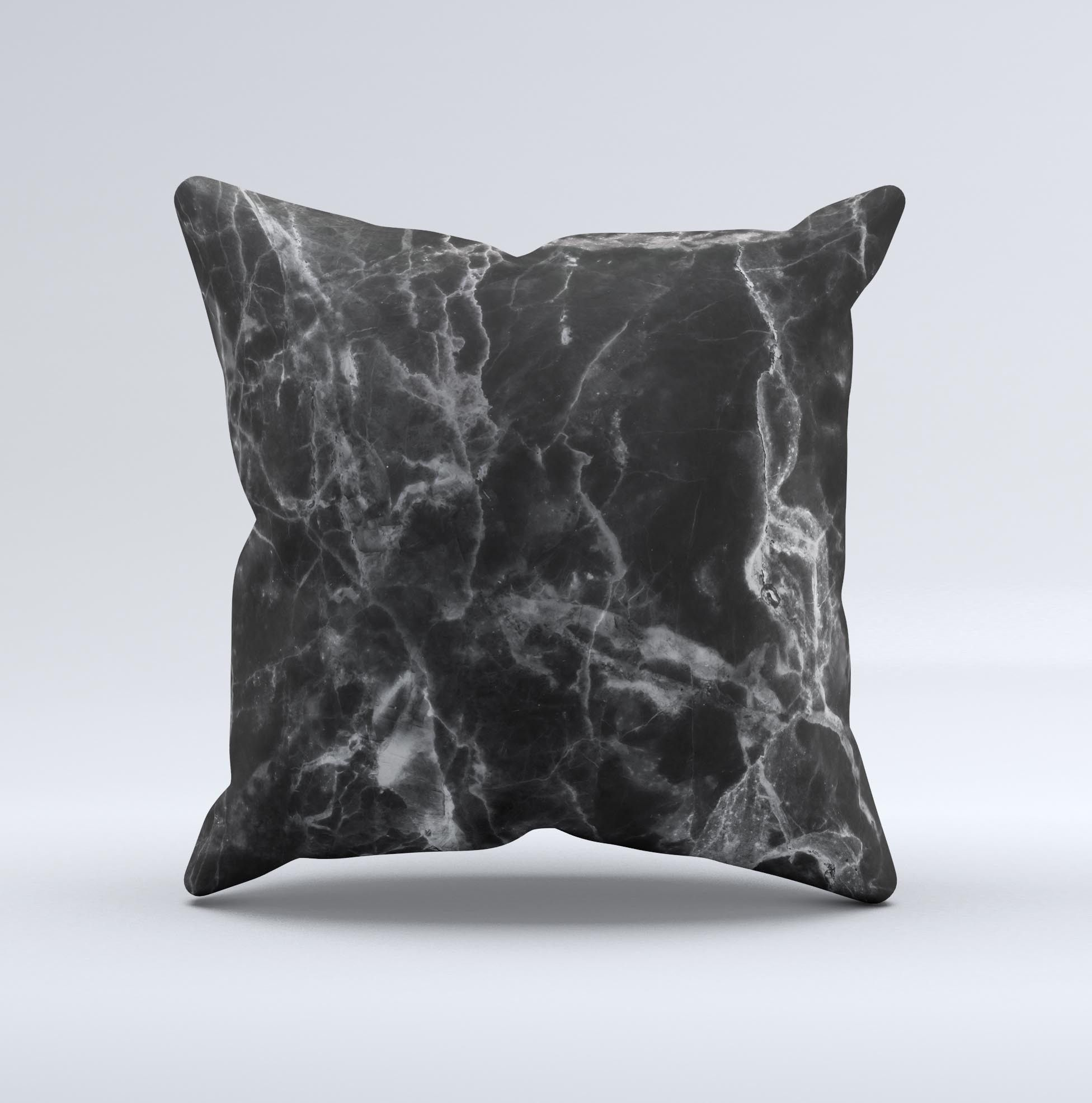The Smooth Black Marble ink-Fuzed Decorative Throw Pillow from DesignSkinz