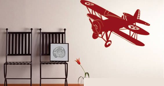 A Removable Wall Decal Displaying A Vintage Airplane Design. Our Old School Airplane  Wall Decal Is An Easy To Install Adhesive Art, Which Is Also Very Easy ...