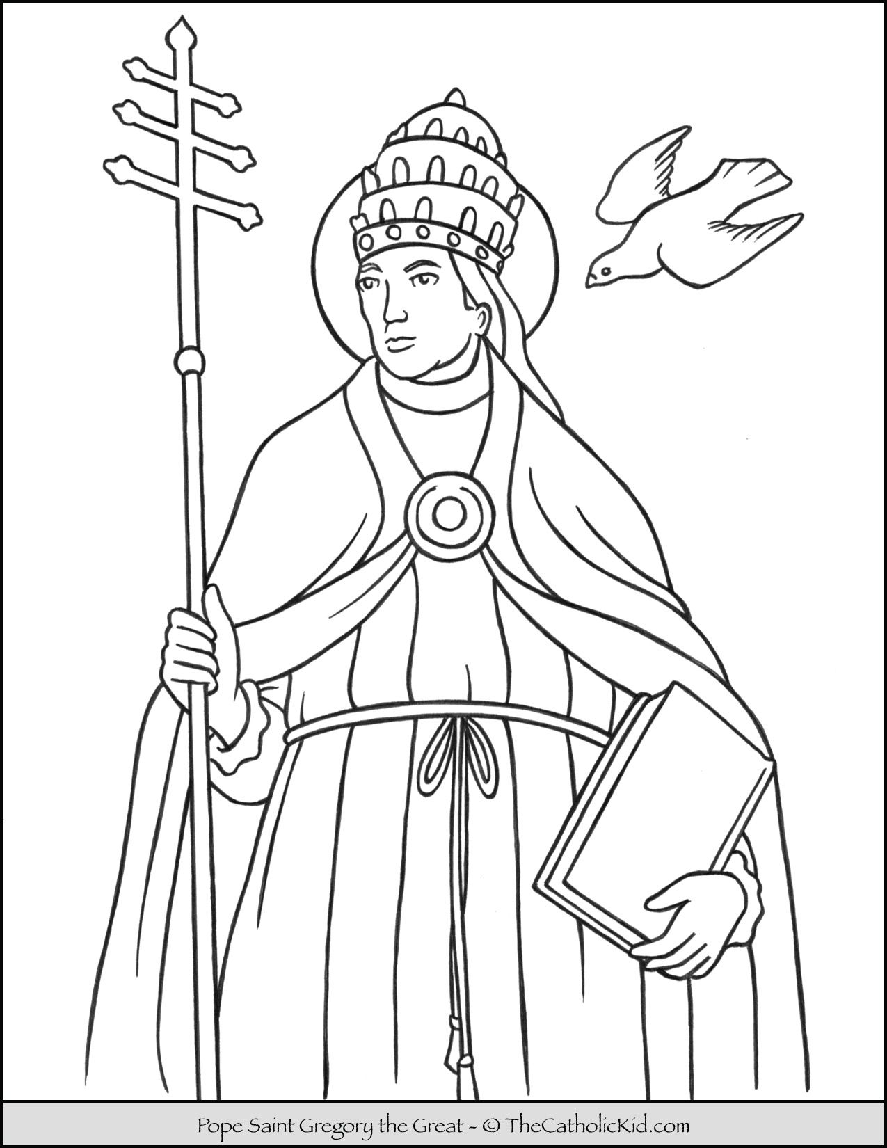 Pope Saint Gregory The Great Coloring Page Thecatholickid Com