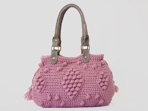 BOLSO / / rosa / rosa bolso bolso de ganchillo - estilo celebridad con correas de cuero genuino / manijas/del ganchillo del bolso / bolsa gr...