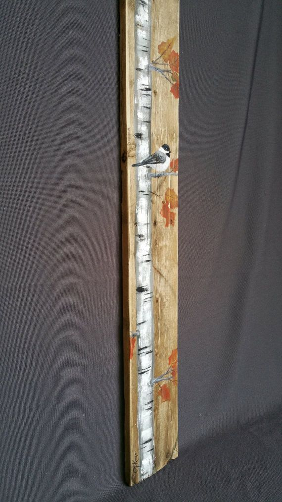 40 Very Tall Fall Reclaimed Wood Pallet Art Hand Painted White Birch Adee Bird