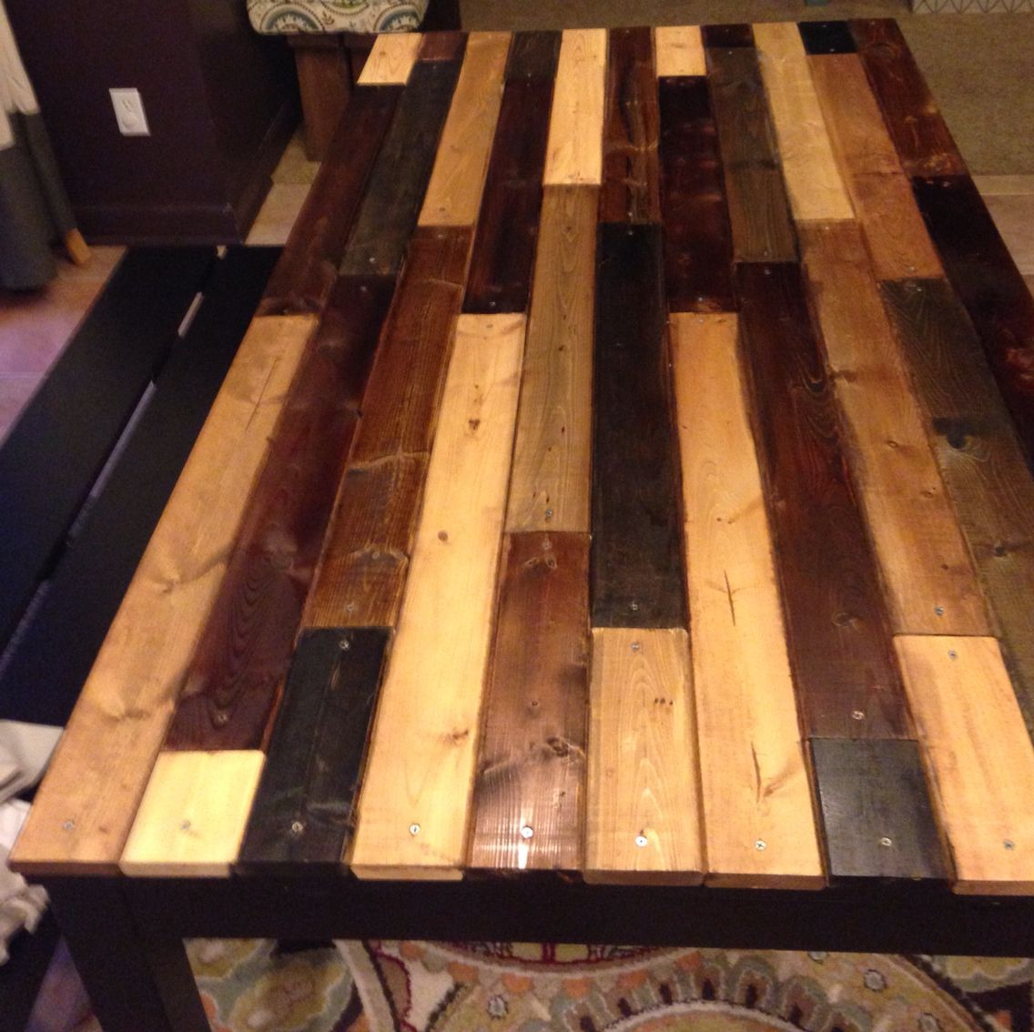 Table Made With Repurposed Ikea Bed Slats Ikea Bed Slats Bed Slats Upcycle Upcycle Bed [ 1134 x 1136 Pixel ]