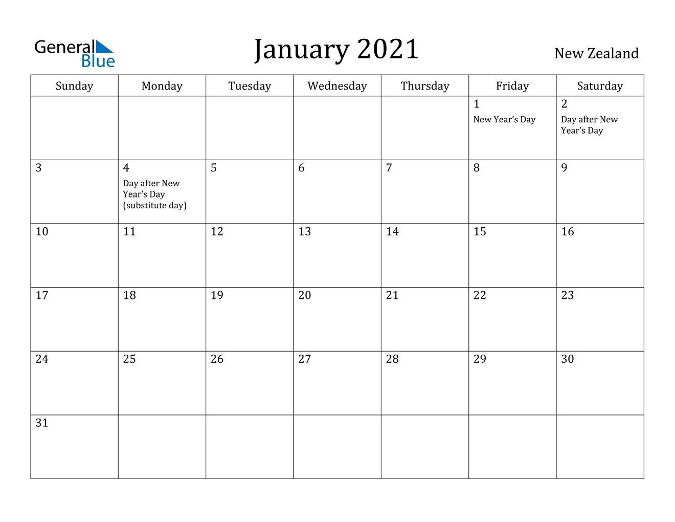 Calendar 2021 New Zealand Holidays Di 2020