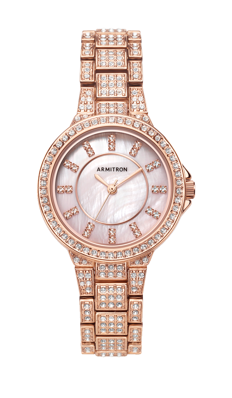 Swarovski crystal analog watch with rose gold link bracelet mm