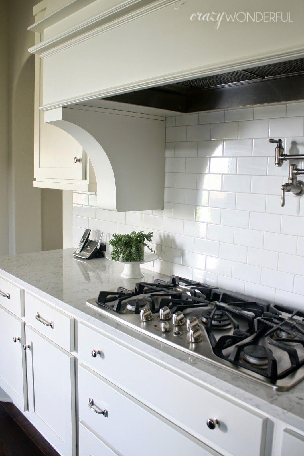 White Cabinets Kitchen Subway Tile Pot Filler Lyra Silestone