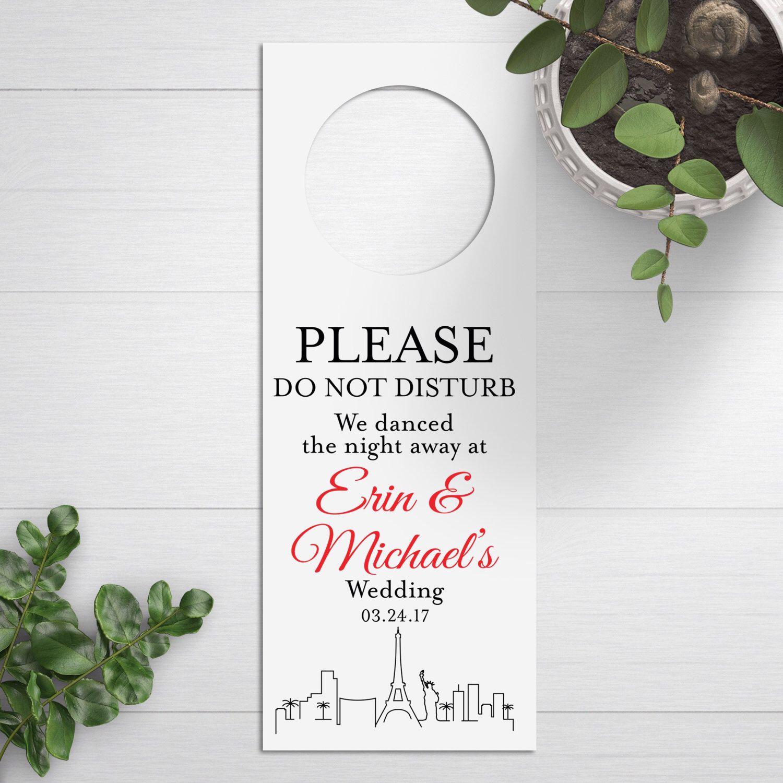 Wedding Door Hangers, Vegas Skyline, Do Not Disturb Signs, Wedding ...