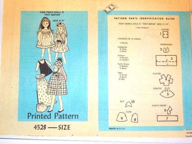 "Wardrobe Sewing Pattern #4528 fits vintage 6/"" Tutti Doll"