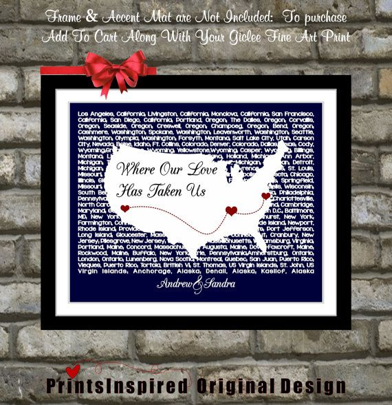 Anniversary gift us lyrics map wall art personalized for