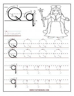 Printable letter Q tracing worksheets for preschool Printable