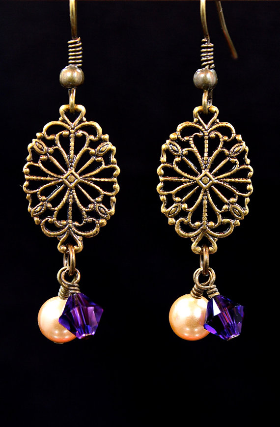 Antiqued Brass And Pearl Earrings Orquidea Bisuteria
