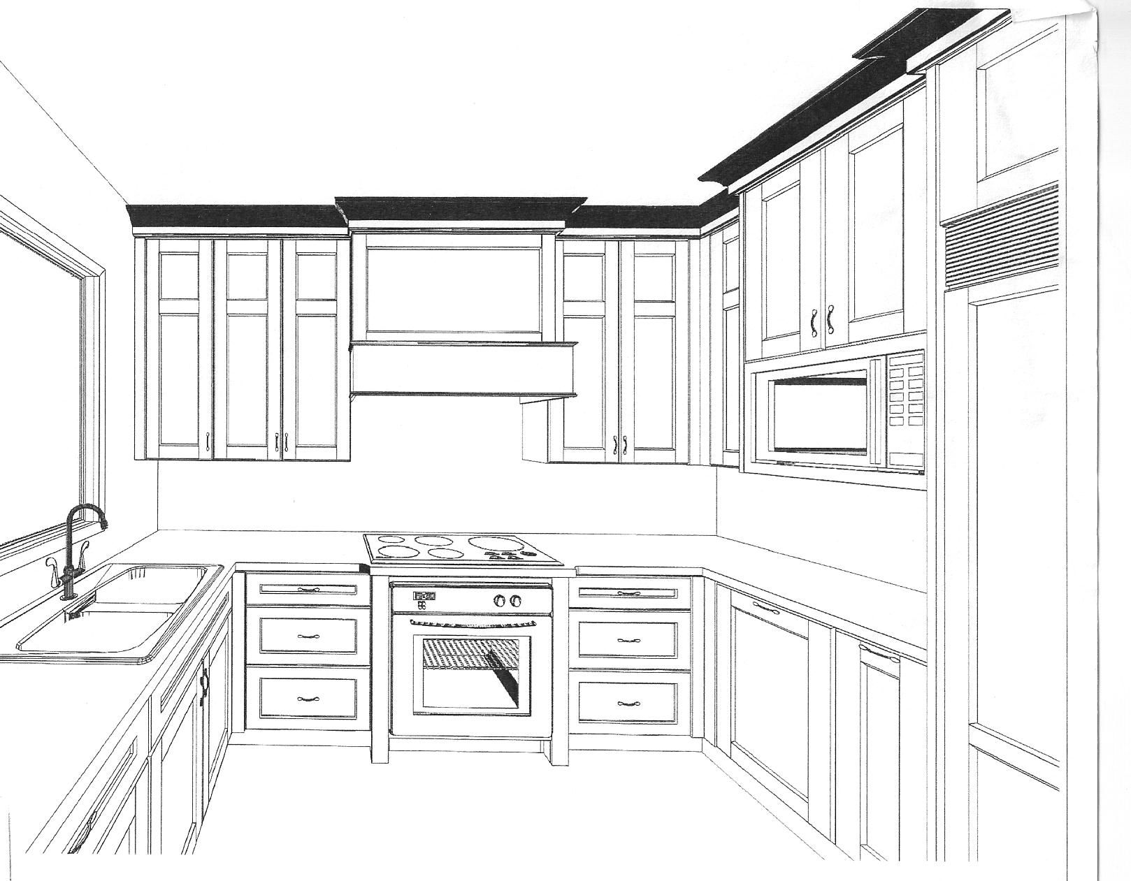 Simple Kitchen Drawing Simple Kitchen Drawing Best