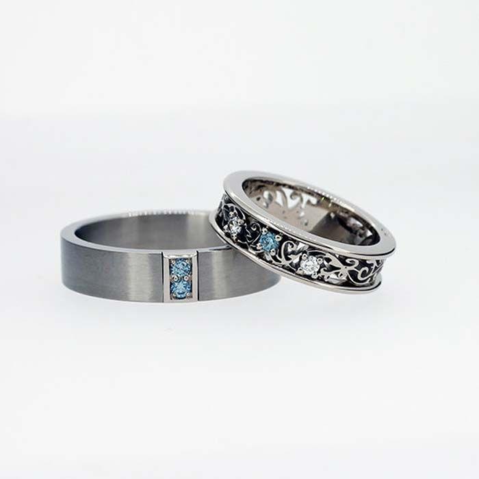 matching his and hers aquamarine wedding band set from torkkelijewellery via etsy groomweddingrings