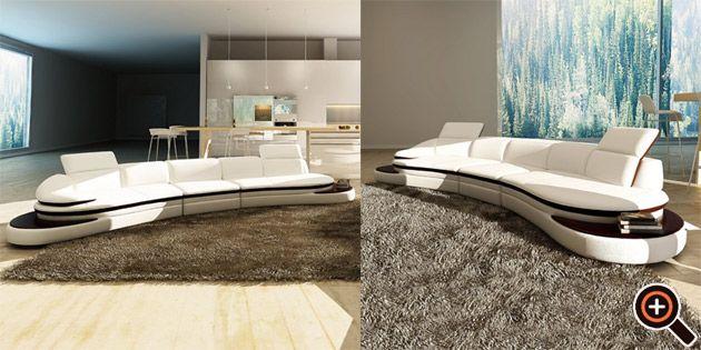 Designer Couch  modernes Sofa frs Wohnzimmer aus Leder in wei braun  schwarz