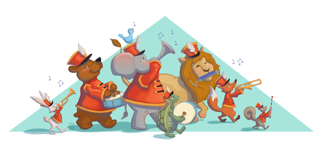 Rani Bean Art Marching Band Of Animal Characters Rabbit Bear Elephant Turtle Lion Fox Mouse With Instruments Print Availa Flamingo Art Marching Band Art