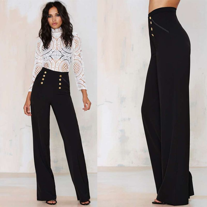 Innovative 2014 New Style Pocket Decorated Office Lady Formal Long Pants Size XS