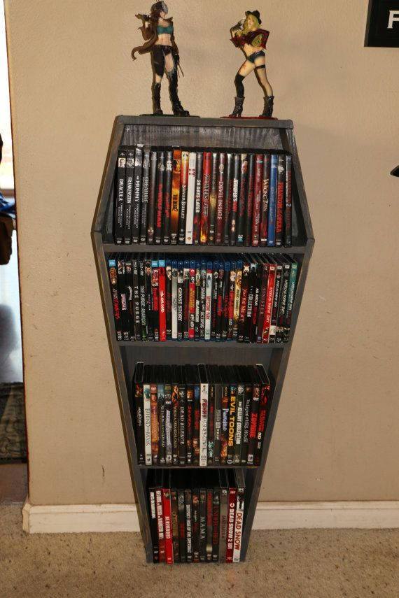 custom rustic handmade horror coffin shelf bookshelf dvd case rh pinterest com custom made dvd shelves Custom Wall Unit DVD
