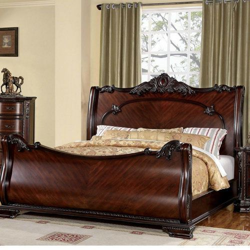 King Size Sleigh Bed Frame French Style Curved Wooden Bedroom Furniture Cherry Oak Bedroom Furniture Furniture Wooden Bedroom Furniture