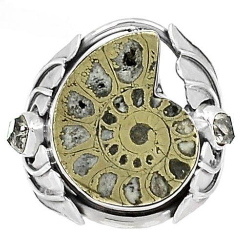 Fossil-Pyrite-Ammonite-925-Silver-Ring-Jewelry-s-8-SR170249