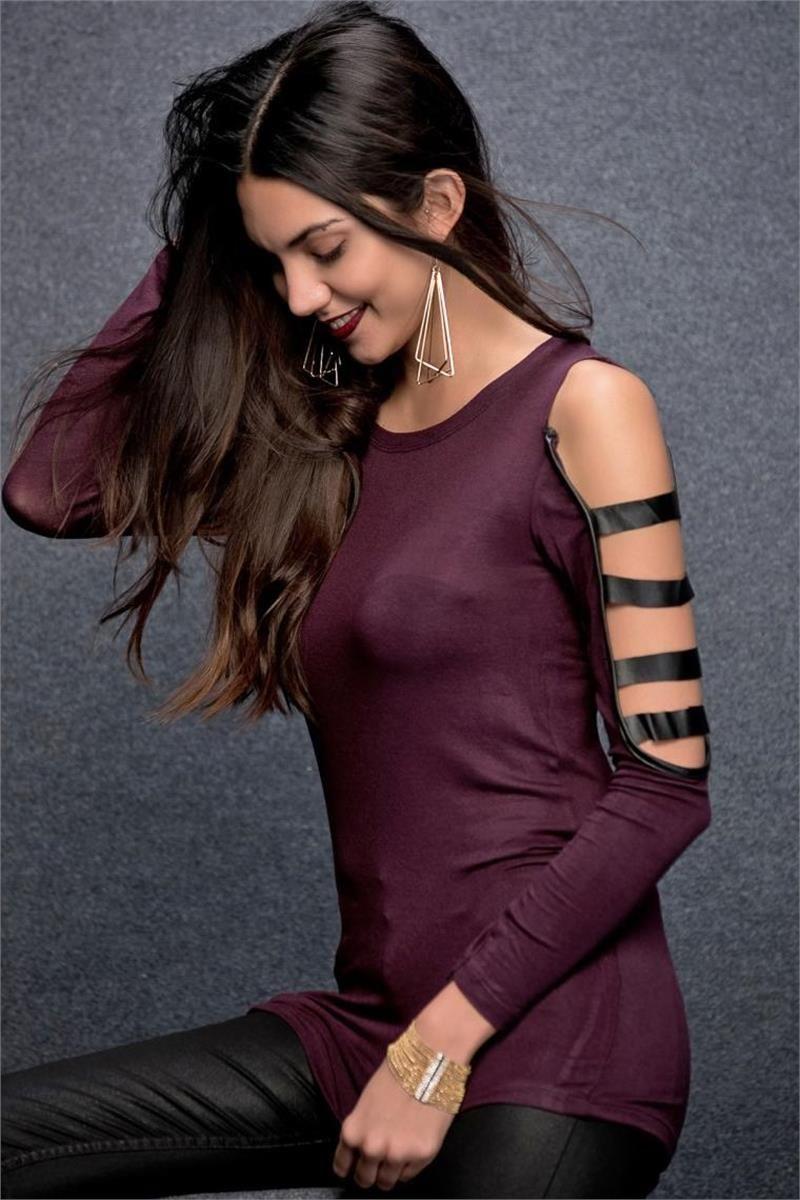 4444808569929 Bluz Modelleri Deri Bantlı ve Desenli Bayan Bluzlar | Modabenle.com ...