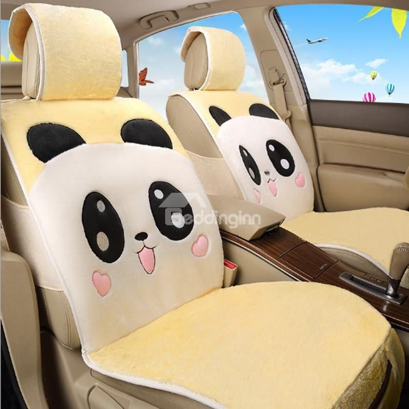 Lovely Panda Smiling Face Pattern Design Soft Short Plush Material Universal Car Seat Cover Covers