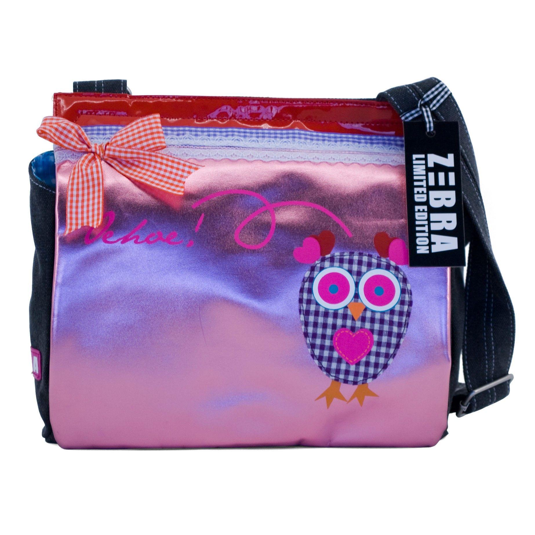 Neon Roze Schoudertas : Deze roze schoudertas met uil erop van het merk zebra