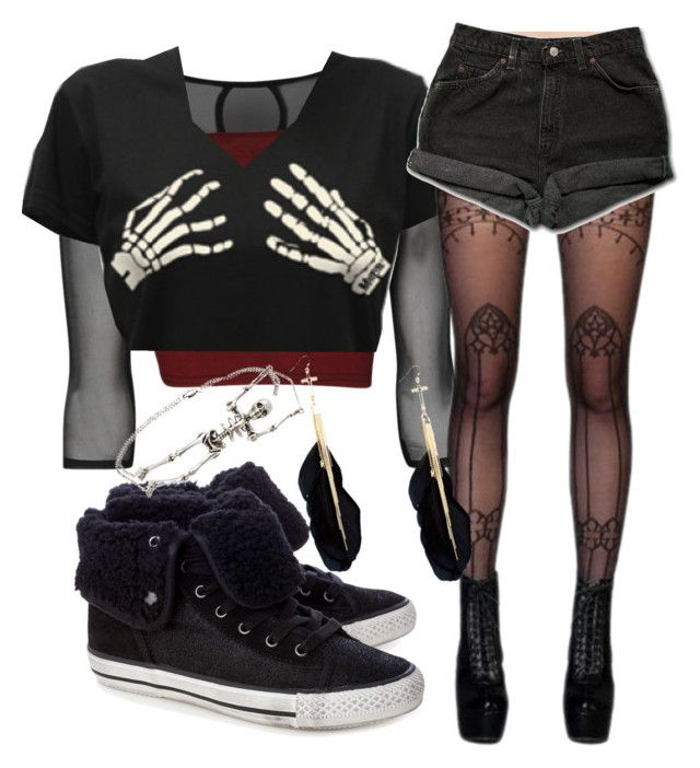 """V"" by hope-lopez on Polyvore featuring Ash, Levi's, Red Herring and Yves Saint Laurent"
