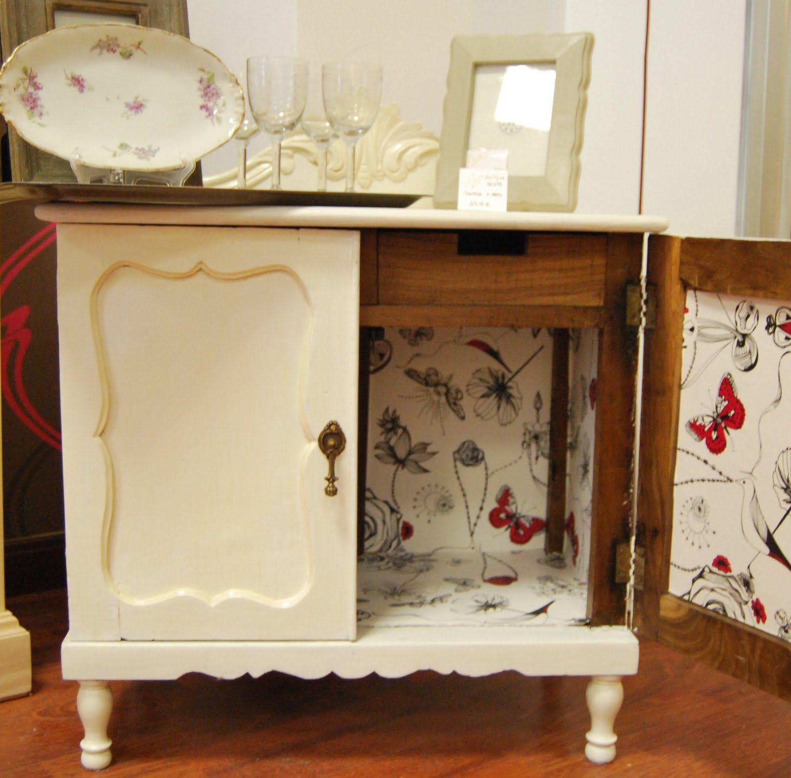Muebles reciclados con papel pintado | Muebles reciclados, Reciclado ...