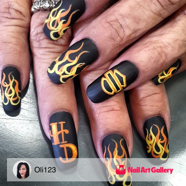 Harley Nails By Oli123 Via Nail Art Gallery Nailartgallery Nailart Nails Acrylic Fire Nails Glamour Nails Flame Nail Art