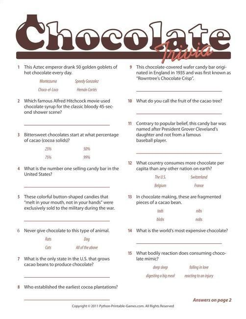 Foods  Drinks Games Chocolate Trivia Game work Trivia games