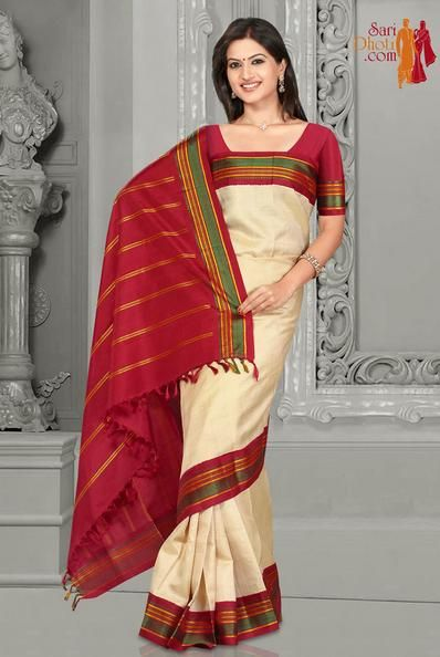 Traditional Saree with silk border, Cream color body with Mustard color stripes, Red color Pallu, border and blouse piece. for price details visit: http://www.saridhoti.com #kanchipuramsarees