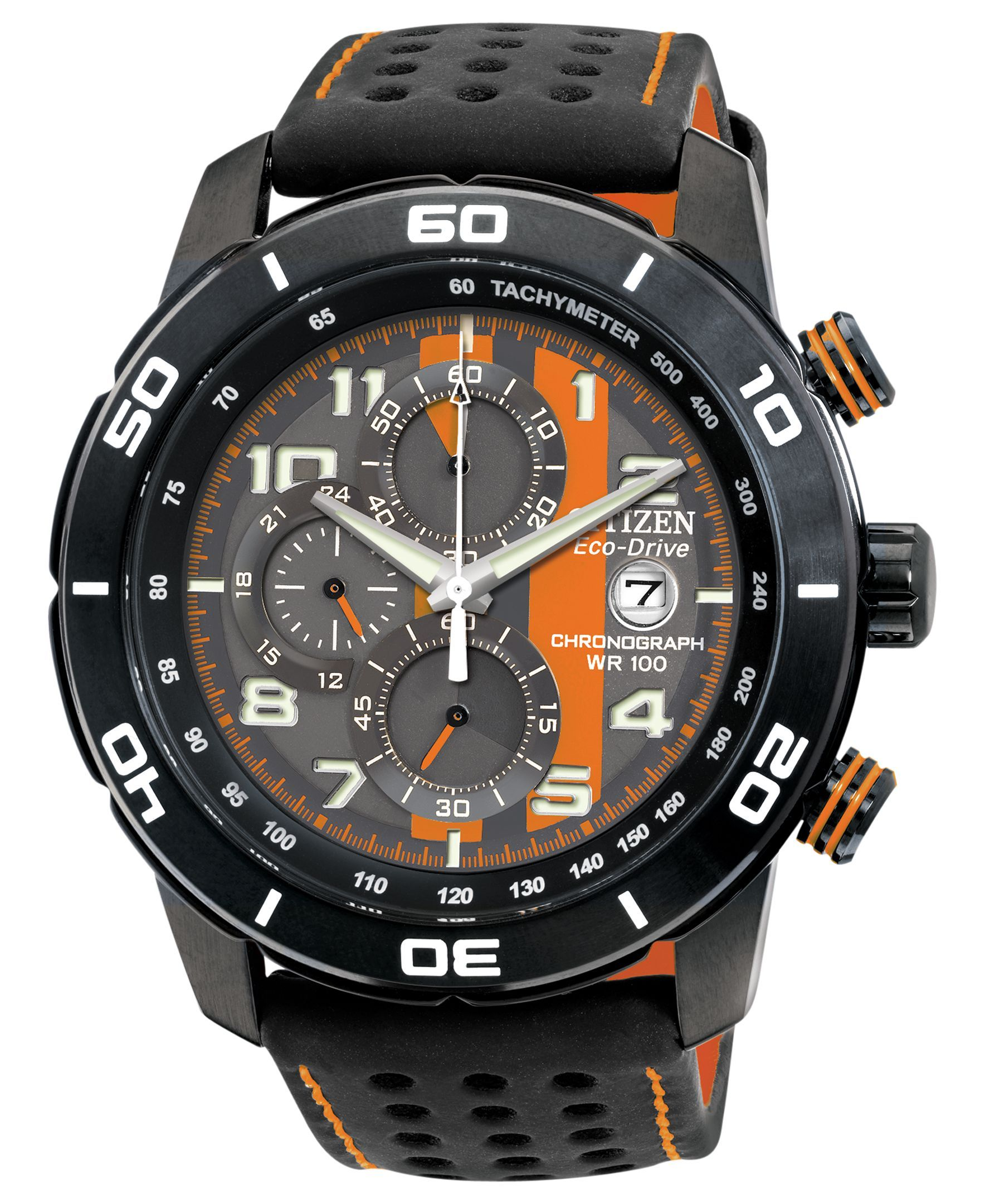 Orange accents pop on this versatile sports watch from Citizen. Built with Eco-Drive technology, harnessing natural and artificial light, never needing a battery. | Black polyurethane-coated leather s