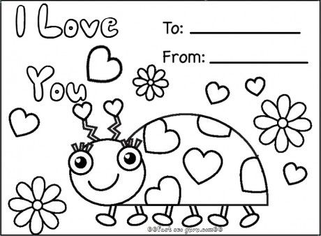 graphic about Valentines Printable Color Pages referred to as Print out delighted valentines working day ladybug coloring playing cards