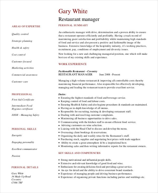 Resume Template RESTAURANT MANAGER Prepared Professional - human resources generalist resume