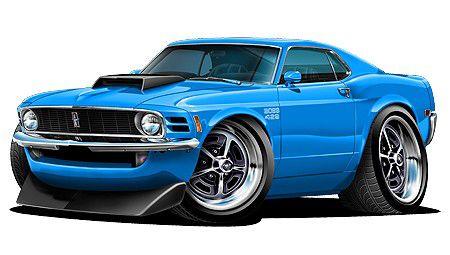 1970 Cartoon Ford Mustang Classic Cars Car Art