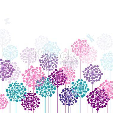 Dandelion's meadow Royalty Free Stock Vector Art Illustration