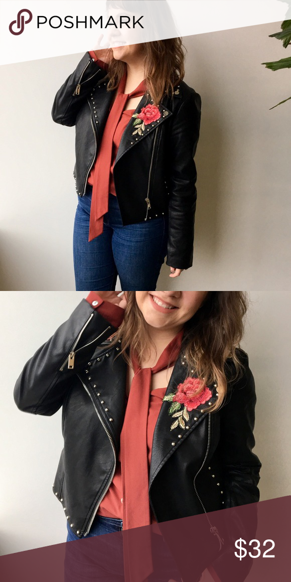 Floral Embroidery Patch Faux Leather Moto Jacket Faux