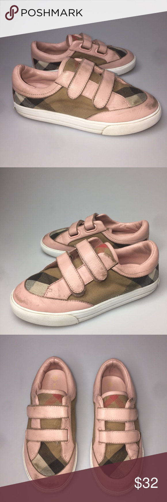 6ff974547888 Burberry Mini Heacham Checker Slip On Sneakers 30 Burberry Mini Heacham  Checker Slip On Sneaker Lil Kids Shoes Girls 30 12 US Leather Canvas Nice  pre-owned ...