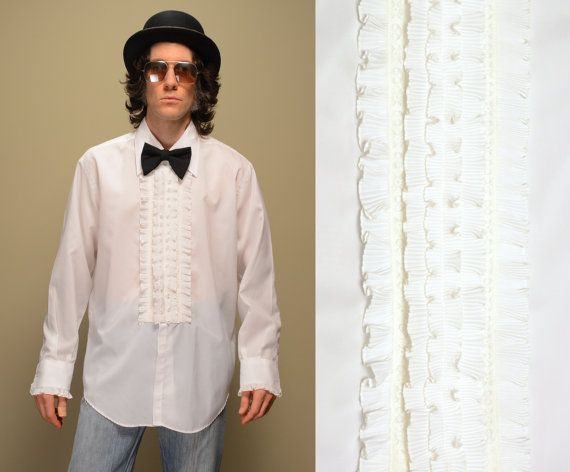 Mens shirt vintage 70s ruffle lace tuxedo shirt 1970 white for Frilly shirts for men